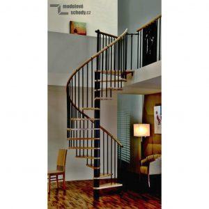Točité schody Minka s černou konstrukcí