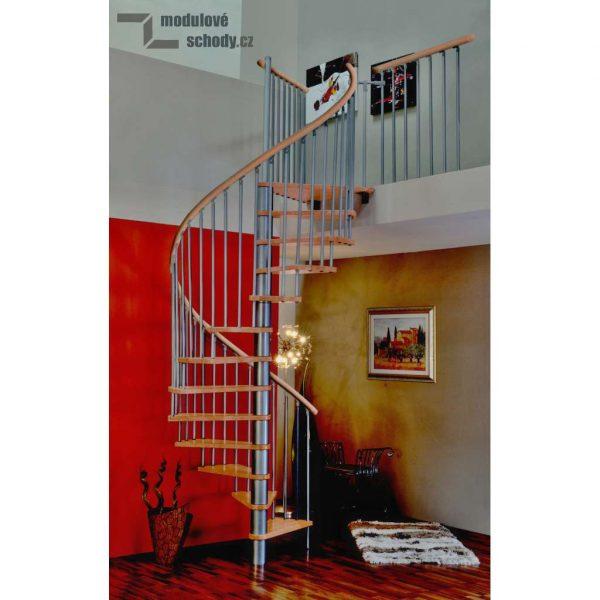 Modulove tocite schody Minka Rondo Spiral Wood silver_samonosne schodiste_2